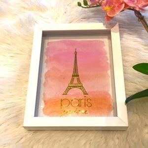 PARIS J'ADORE framed print in classic white frame